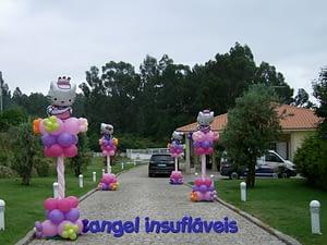 coluna de balões hello kitty