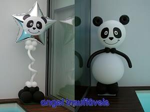 coluna de balões tema urso panda