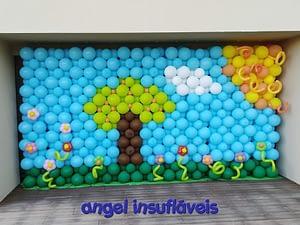 mural de balões primavera