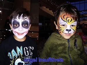 meninos com pintura facial